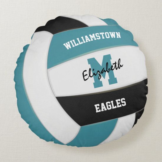 teal and black team colors girls boys volleyball round pillow