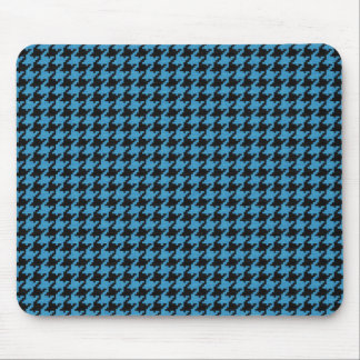 Teal and Black Textured Houndstooth Pattern Mouse Pad