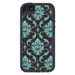 Teal and Black Vintage Damask Pattern iPhone 5 Cover