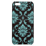 Teal and Black Vintage Damask Pattern Cover For iPhone 5C