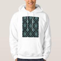 Teal and Black Vintage Damask Pattern Hoodie