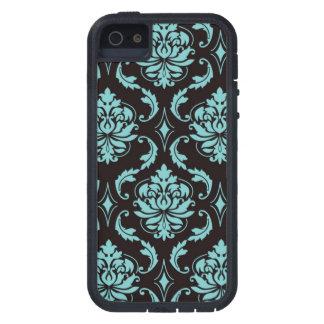 Teal and Black Vintage Damask Pattern iPhone SE/5/5s Case