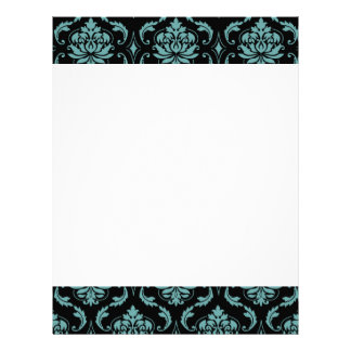 Teal and Black Vintage Damask Pattern Personalized Letterhead
