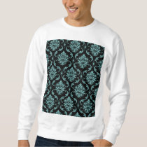 Teal and Black Vintage Damask Pattern Sweatshirt