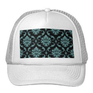 Teal and Black Vintage Damask Pattern Trucker Hat
