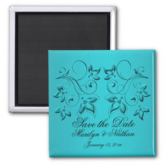 Teal and Black Wedding Favor Magnet