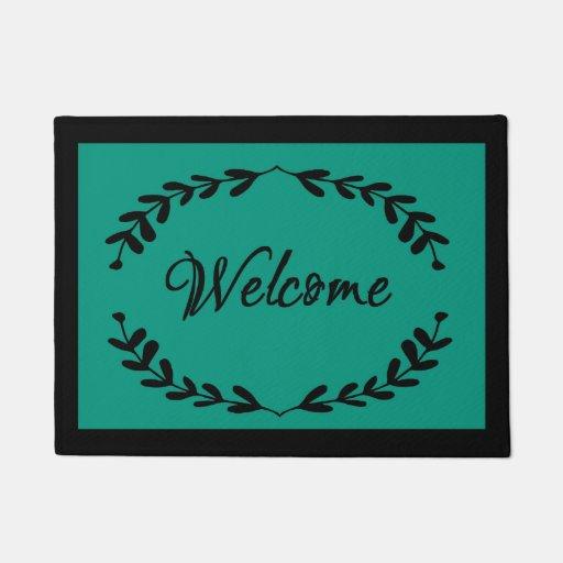 Teal And Black Welcome Doormat Zazzle