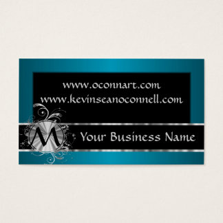 Teal and black with monogram business card