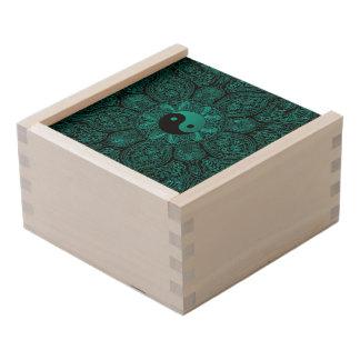 Teal and Black Yin Yang Mandala Keepsake Box