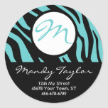 Teal and Black Zebra Initial Envelope Seal (Pink) Stickers