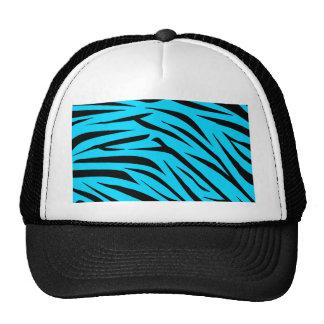 Teal and Black Zebra Stripes Hat