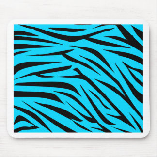 Teal and Black Zebra Stripes Mouse Pad
