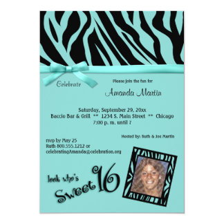"Teal And Black Zebra Stripes Sweet 16 Party Invite 5"" X 7"" Invitation Card"