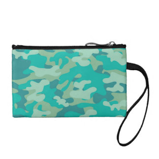 Teal and Blue Camo Change Purse