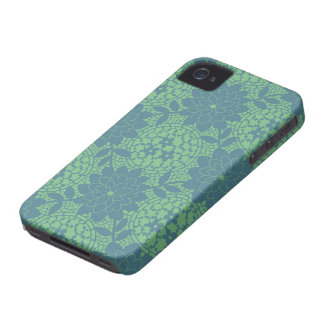 teal and blue floral lattice damask Case-Mate iPhone 4 case