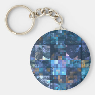 Teal and Blue Flower Key Chain