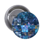 Teal and Blue Flower Pinback Buttons