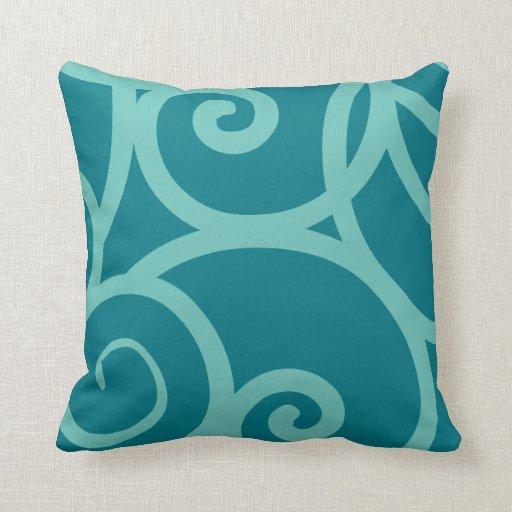Custom Down Throw Pillows : Teal and blue modern Custom Throw Pillow Zazzle