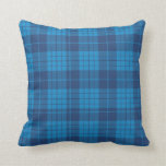 Teal and blue Plaid  Throw Pillow