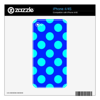 Teal and Blue Polkadots Skin For iPhone 4S