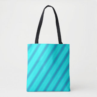 Teal and Blue Striped Tote