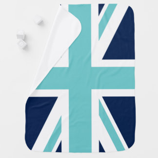 Teal and Blue Union Jack Flag Receiving Blanket