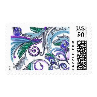 Teal and Blue Versailles Swirl Flourish Postage