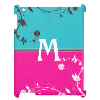 Teal and Bright Pink with floral flourish monogram Cover For The iPad