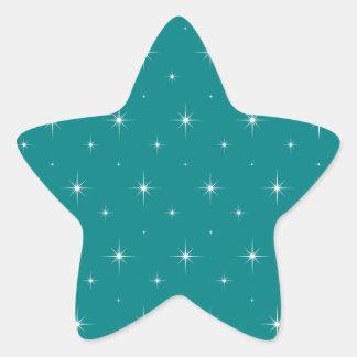 Teal And Bright Stars Elegant Pattern Star Sticker