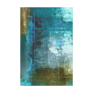 Teal and Brown Abstract Art Canvas Print