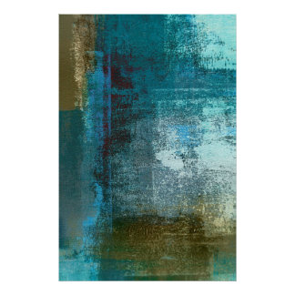 Teal and Brown Abstract Art Poster Print