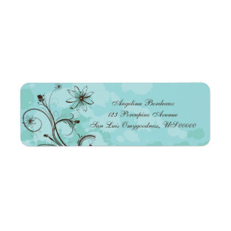 Teal and Brown Abstract Label
