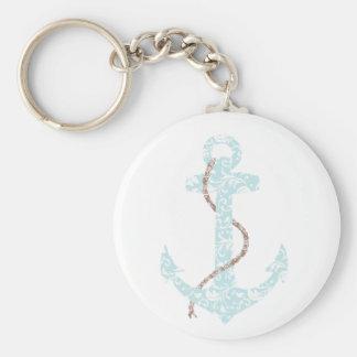 Teal and Brown Anchor Beach Wedding Basic Round Button Keychain