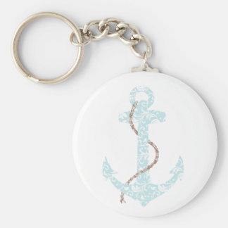Teal and Brown Anchor Beach Wedding Keychain