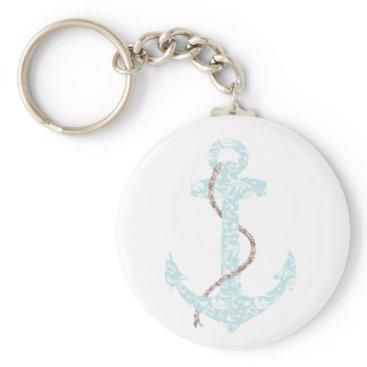 Beach Themed Teal and Brown Anchor Beach Wedding Keychain