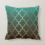 "Teal and Brown Blend | Gold Quatrefoil Pattern Throw Pillow<br><div class=""desc"">Pillows. Featuring an elegant teal and dark brown blend with gold quatrefoil pattern design. Made with high resolution vector and/or digital graphics for a professional print. NOTE: (THIS IS A PRINT. All zazzle product designs are &quot;prints&quot; unless otherwise stated under &quot;About This Product&quot; area) The design will be printed EXACTLY...</div>"