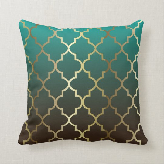 Teal And Brown Blend Gold Quatrefoil Pattern Throw