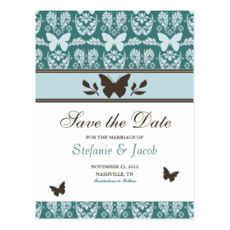 Teal and Brown Butterfly Save The Date Postcard