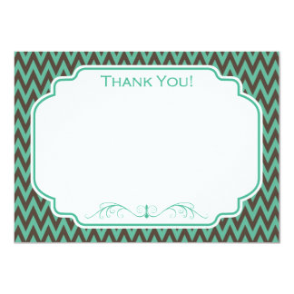 Teal and Brown Chevron Card
