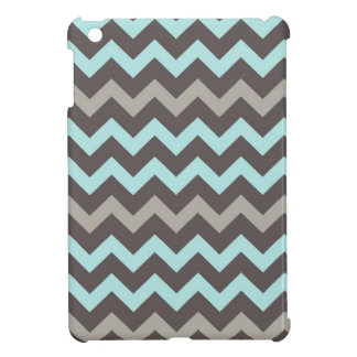 Teal and Brown Chevron Stripes Cover For The iPad Mini