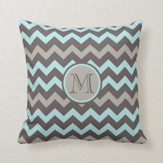 Teal and Brown Chevron with Initial Throw Pillow
