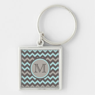 Teal and Brown Chevron with Initial Silver-Colored Square Keychain