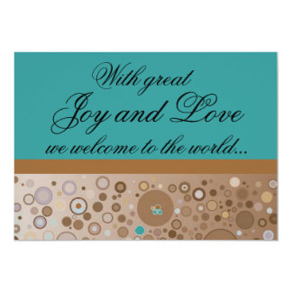 "Teal and Brown Circles Boy Birth Announcement 5"" X 7"" Invitation Card"
