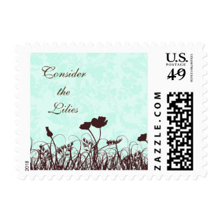 Teal and Brown Consider the Lilies Christian Quote Postage