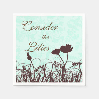 Teal and Brown Consider the Lilies Christian Quote Standard Cocktail Napkin