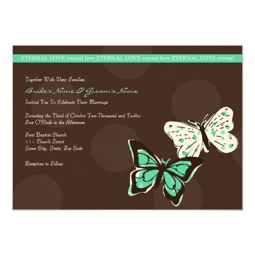 Teal and Brown Cool Butterfly Wedding Invitation