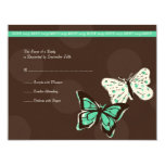 Teal and Brown Cool Butterfly Wedding RSVP Custom Invite