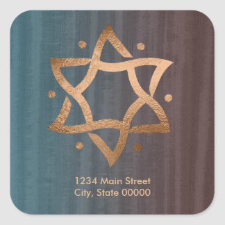 Teal and Brown Copper Star of David Return Address Square Sticker
