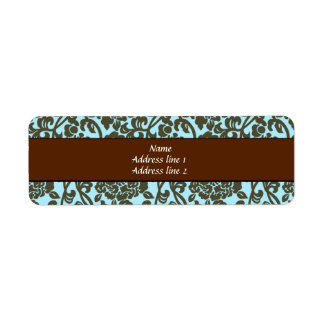 Teal and Brown Damask Address Labels