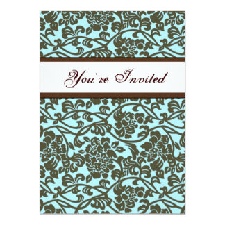 Teal and Brown Damask Housewarming Invitation